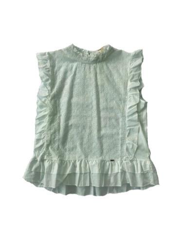 14.15.0.SC0012 Blusa blanca encajes verano suave con elástico lateral