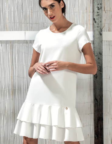 14.4.0.SC008 Vestido blanco volantes manga corta elegante