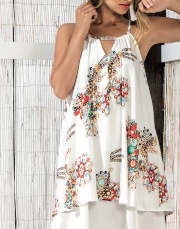 14.4.10.SC016 Vestido branco estampado com flores e brilhos no pescoço detalhes verão fina simples vestido de festa