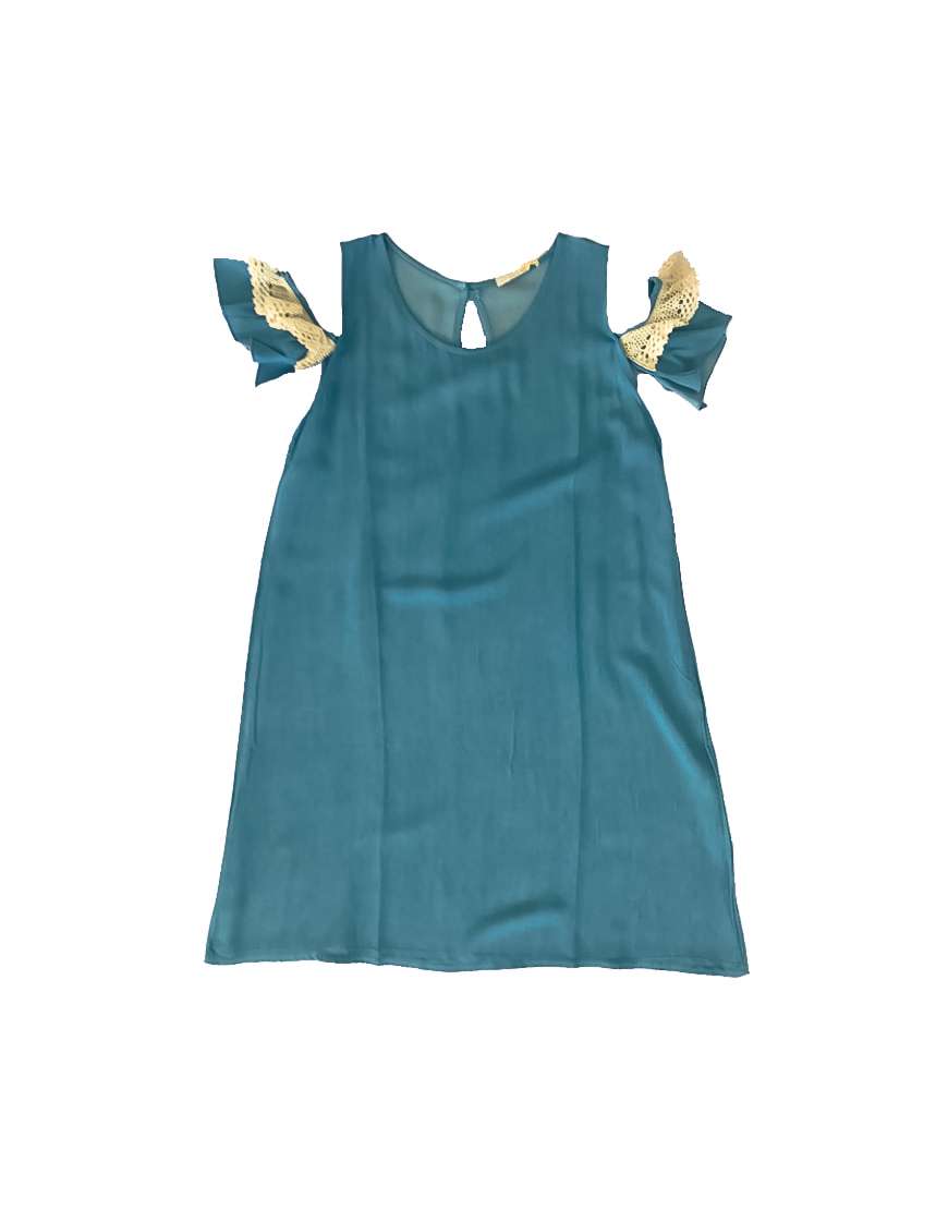 14.4.12.SC022 Vestido vaquero fino verano con encaje manga especial diferente