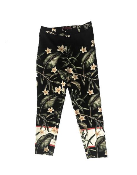 15.02.10.ESS003 Pantalon verano estampado tejido suave pantalon corto negro flores gran talla 2 de 2