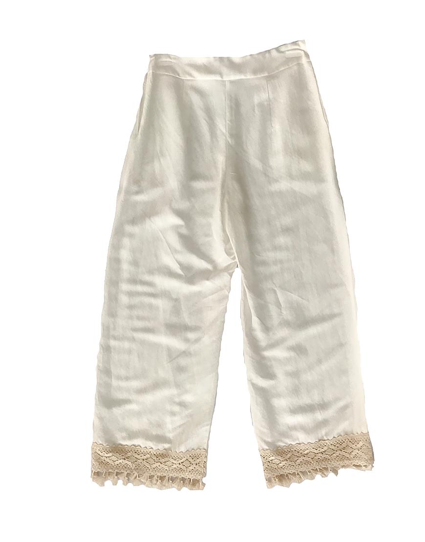3.02.00 TH007 Calças de linho com berloques branco verão fresco e elegante conjunto