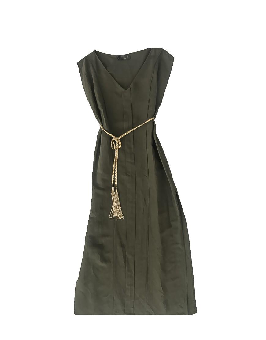 3.04.03.TH018 Vestido de linho comprido com cinto dourado linho Verão elegante praia