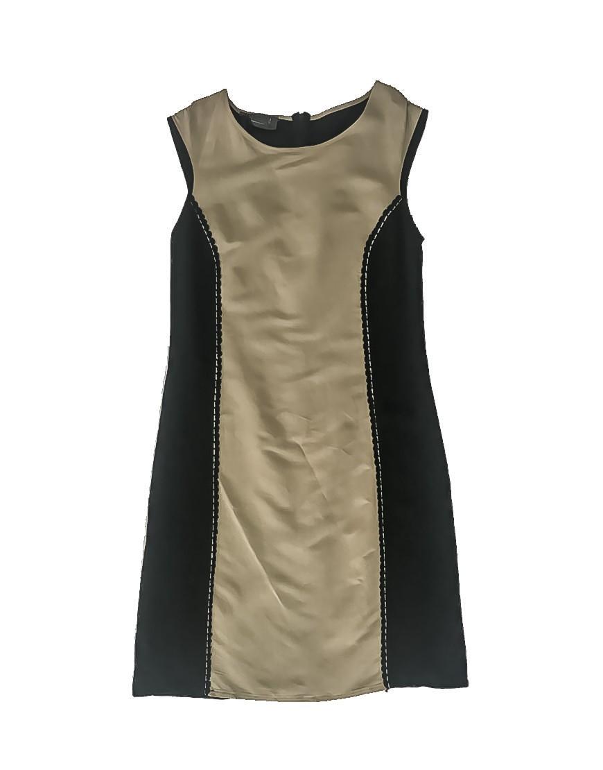 3.04.11 TH016 Vestido lino bicolor negro y beige elegante fresco 1 de 2
