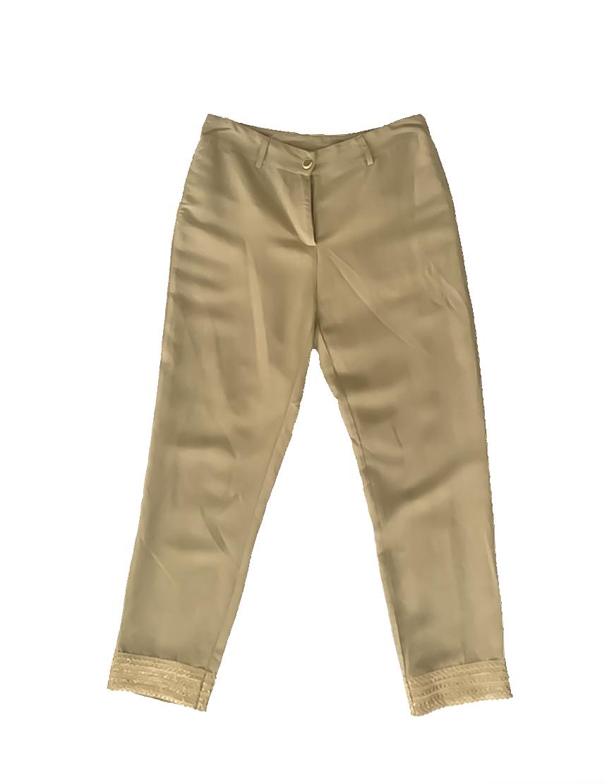 3.12.11.TH04 Pantalon lino arena con bordado dorado verano fresco conjunto