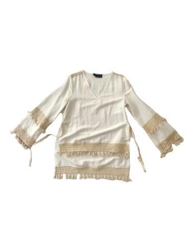 3.14.00-TH009 Tunica lino manga borlas conjunto lino verano talla grande