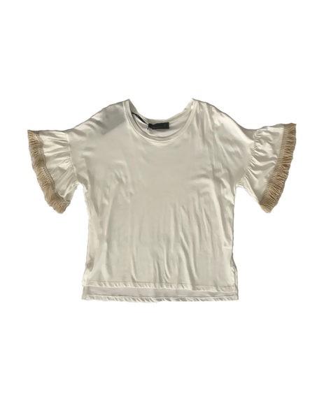 3.14.00.TH009 Camiseta blanca algodon con borlas fresca y elegante deportiva talla grande