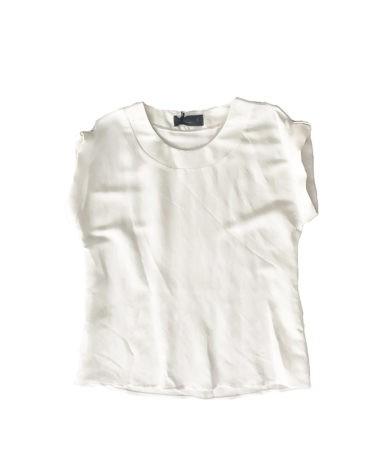 3.14.00.TH020 Camiseta lino blanco con botones en manga fresca blusa lino manga corta