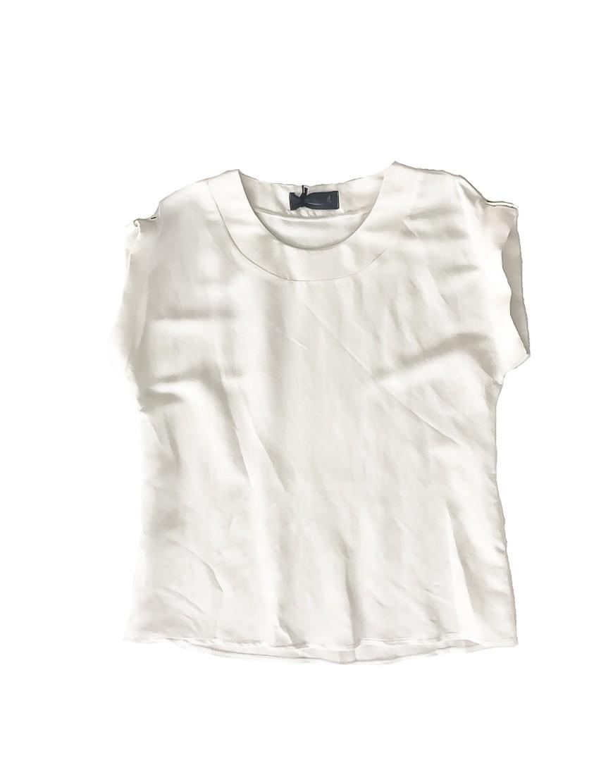 3.14.00.TH020 T-shirt de linho branco com botões em blusa de linho manga curta de manga curta