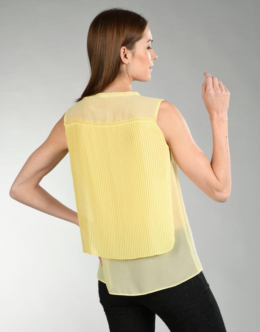 Blusa amarela plisada1
