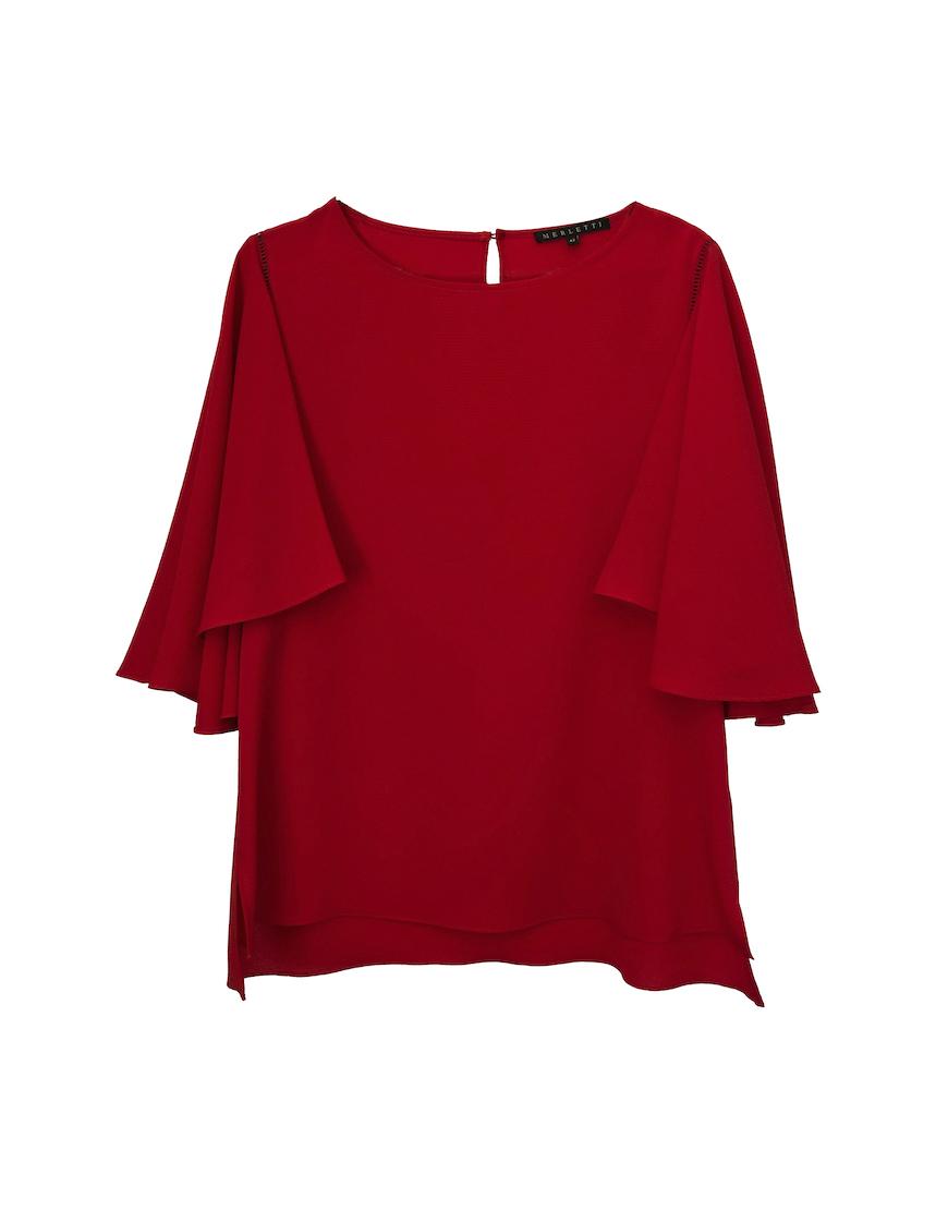 Blusa roja manga volante