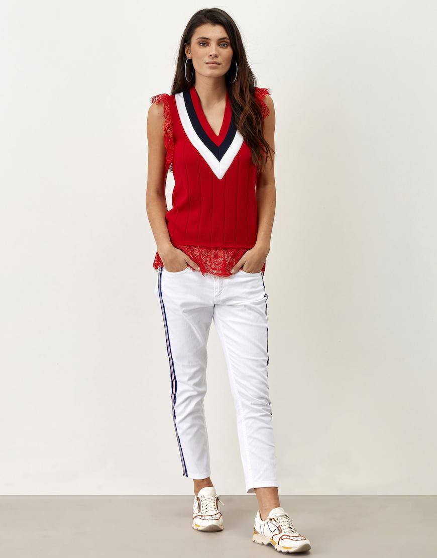Jeans blancos raya lateral