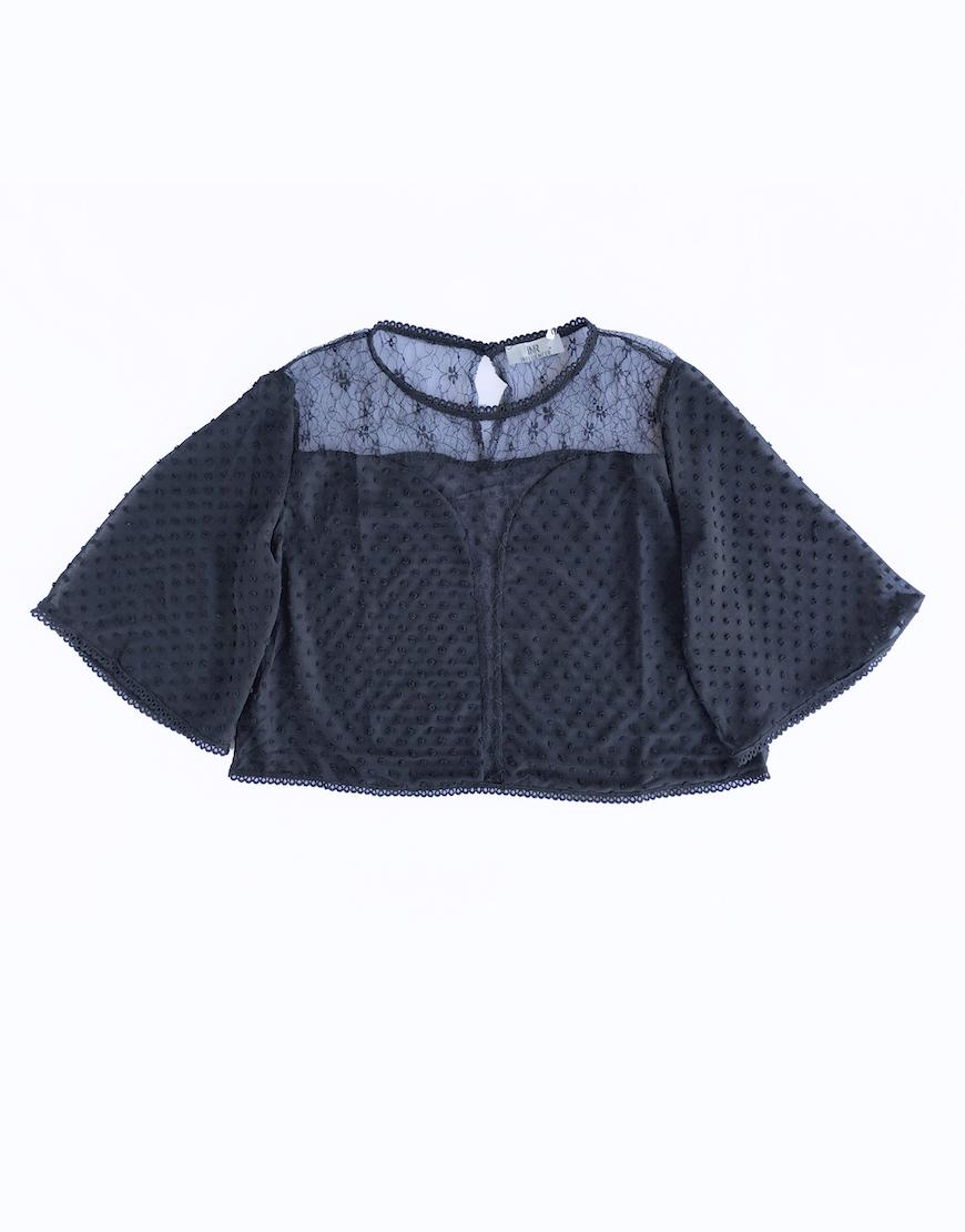 Top negro borlas espalda transparente