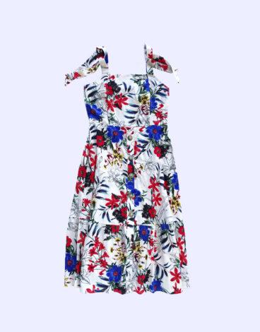 Vestido lino estampado flores