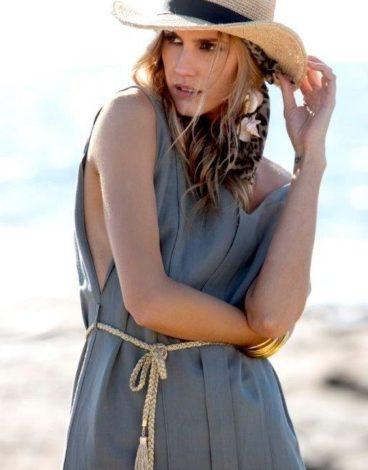 Vestido lino largo cordon