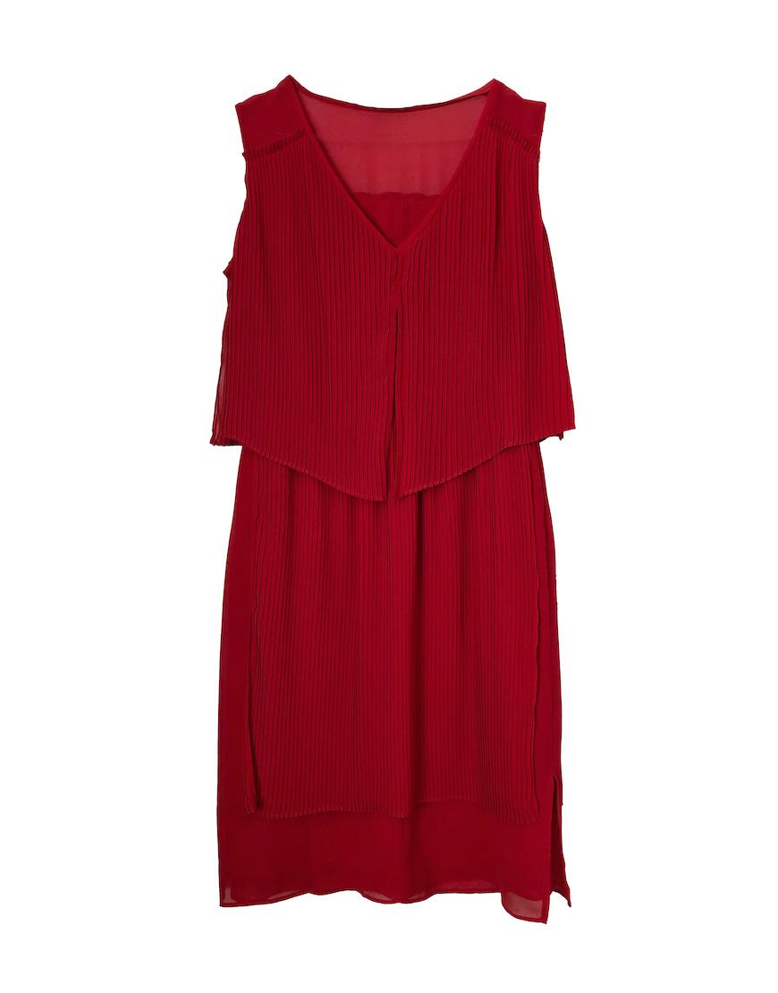 Vestido rojo plisado