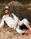 conjunto lino blanco borlas pantalon blusa