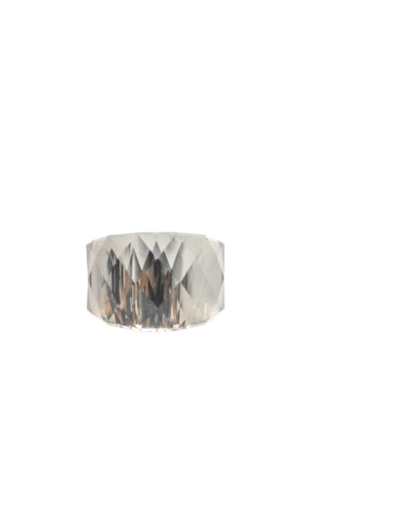 Anel aço com pedra vidro
