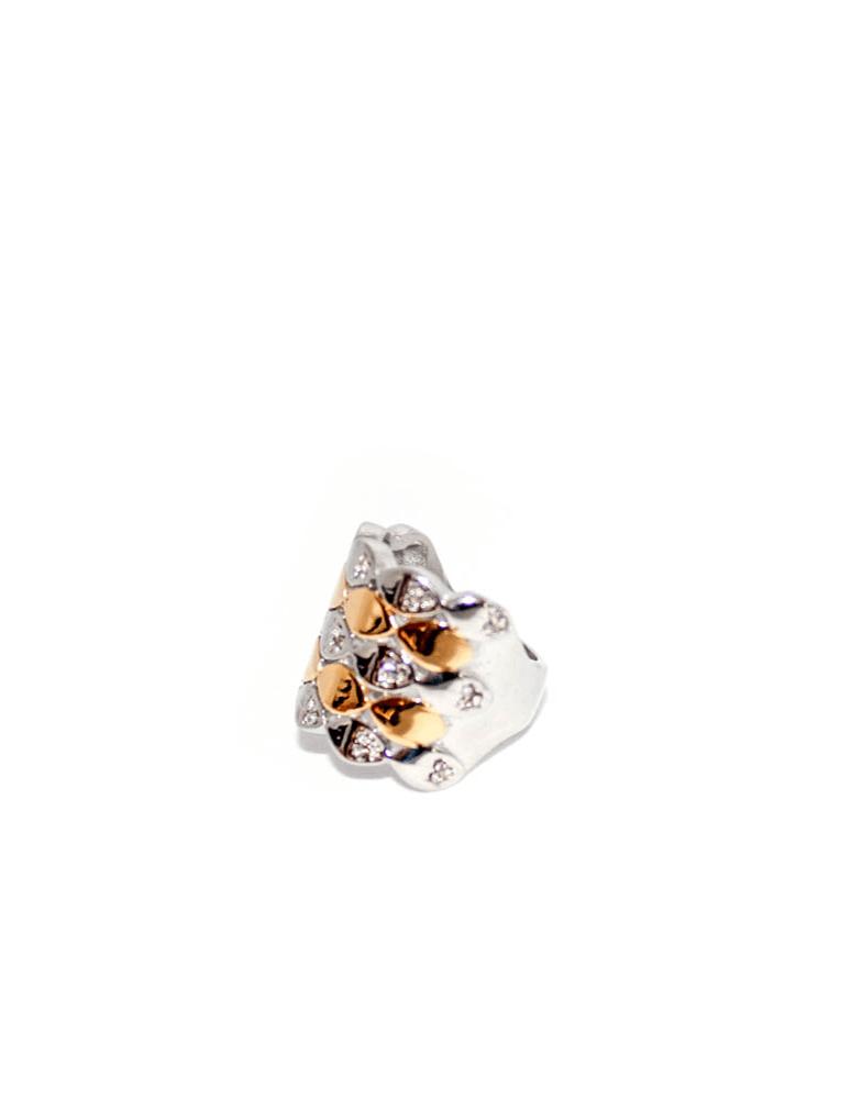 Anel de aço ouro e prata