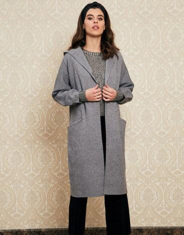 Abrigo gris capucha INFLUENCER_Q78241