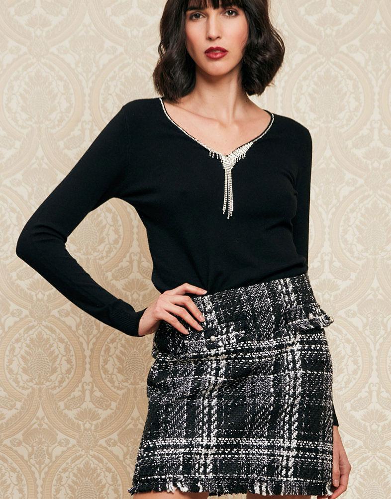Falda negra tweed