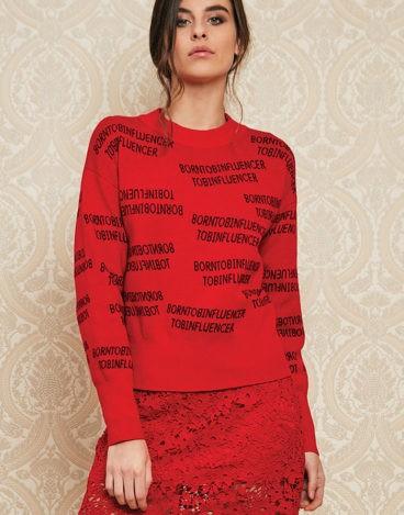 Camisola de malha vermelha INFLUENCER_J3403