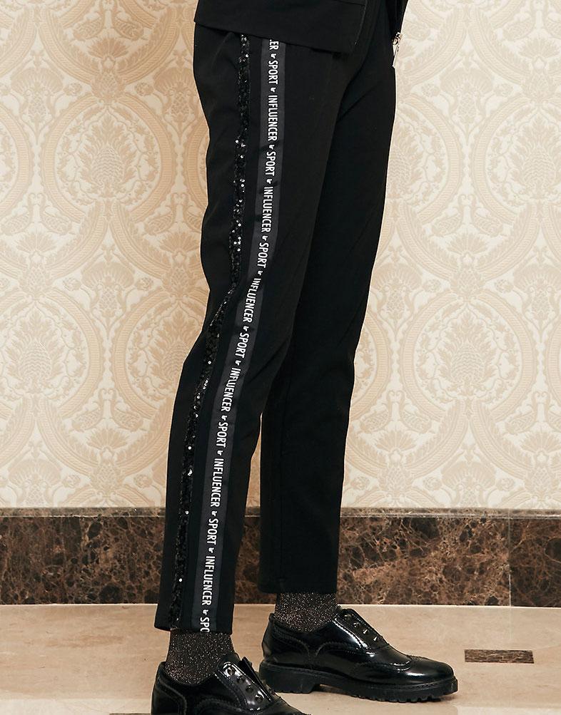 Pantalon negro jogger con letras y detalle brillo INFLUENCER_53003