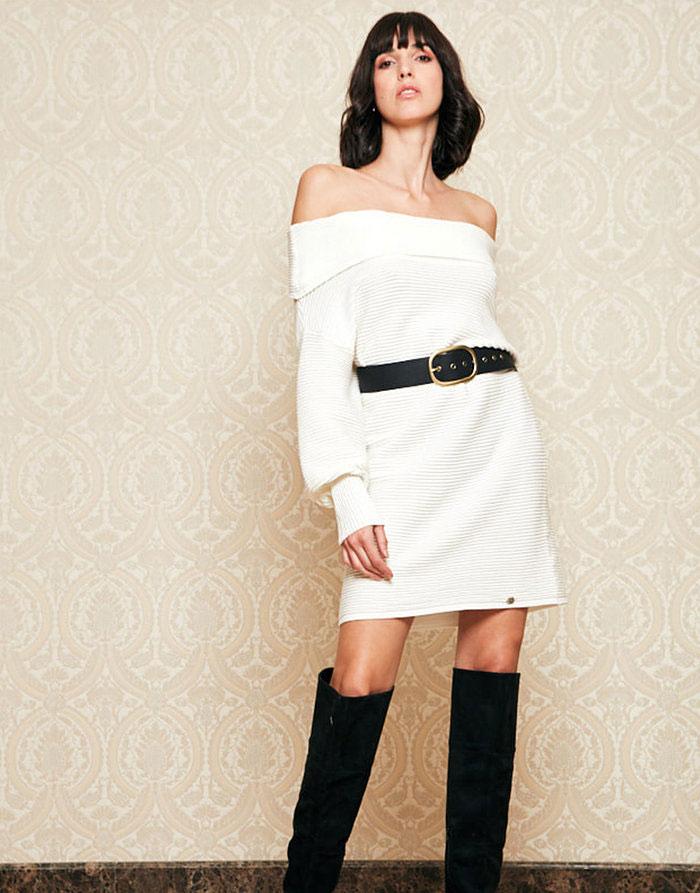 Vestido de malha branco INFLUENCER_J3313