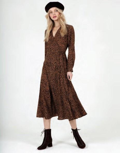 Vestido Midi Estampado Leopardo