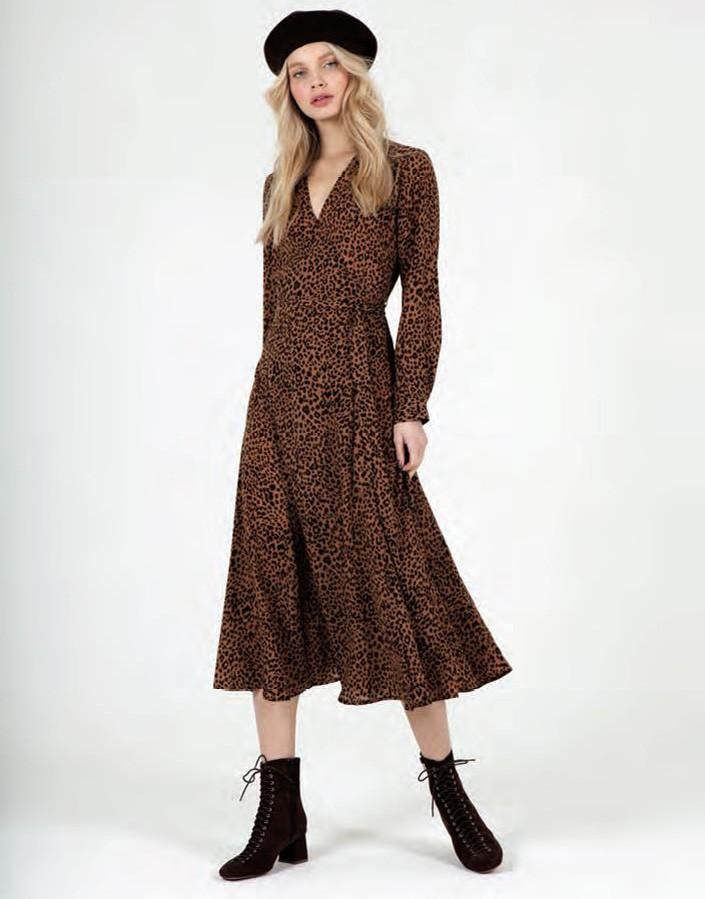 Vestido midi estampado leopardo JV002