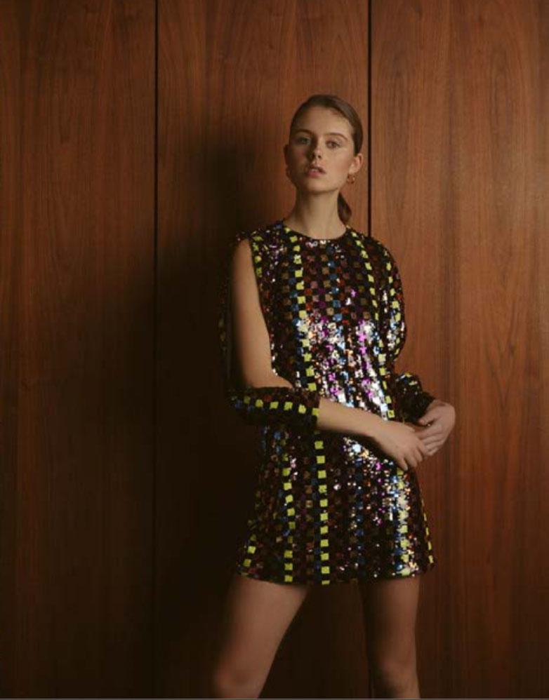 Vestido de festa de lantejoulas-JV025