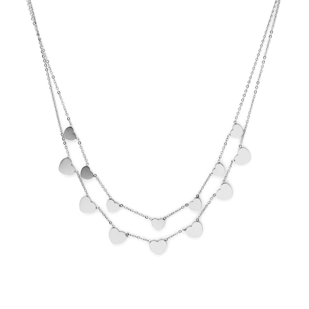 C003P – collar acero doble con corazones pequeños