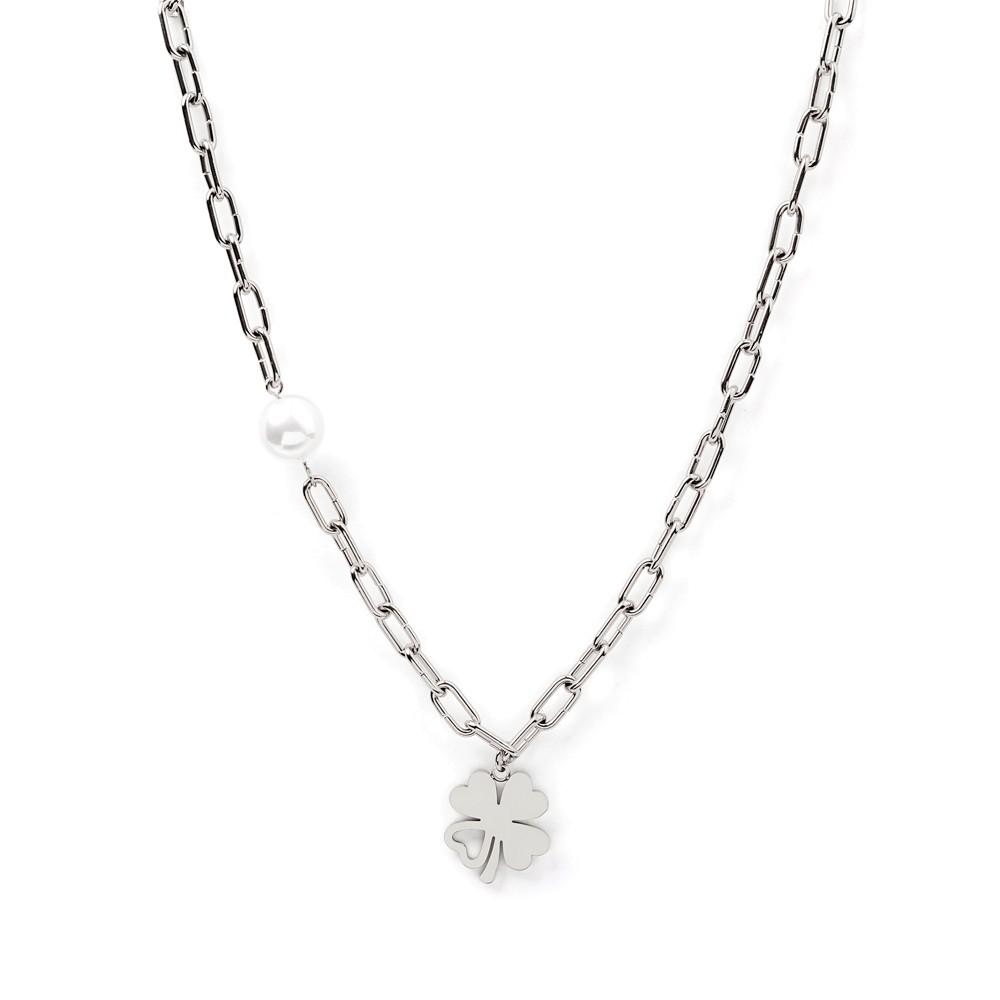 C005P – collar acero con perla y trevol con brillante