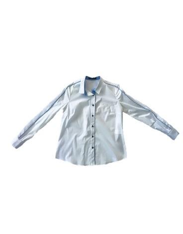 1.01.00.-ME014-Camisa-popeline-blanca-raya-azul-camisa-para-vaqueros-verano-grandes-tallas
