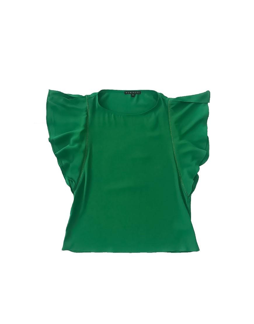 1.01.03-ME010-Blusa-verano-verde-fina-fresca-manga-volantes