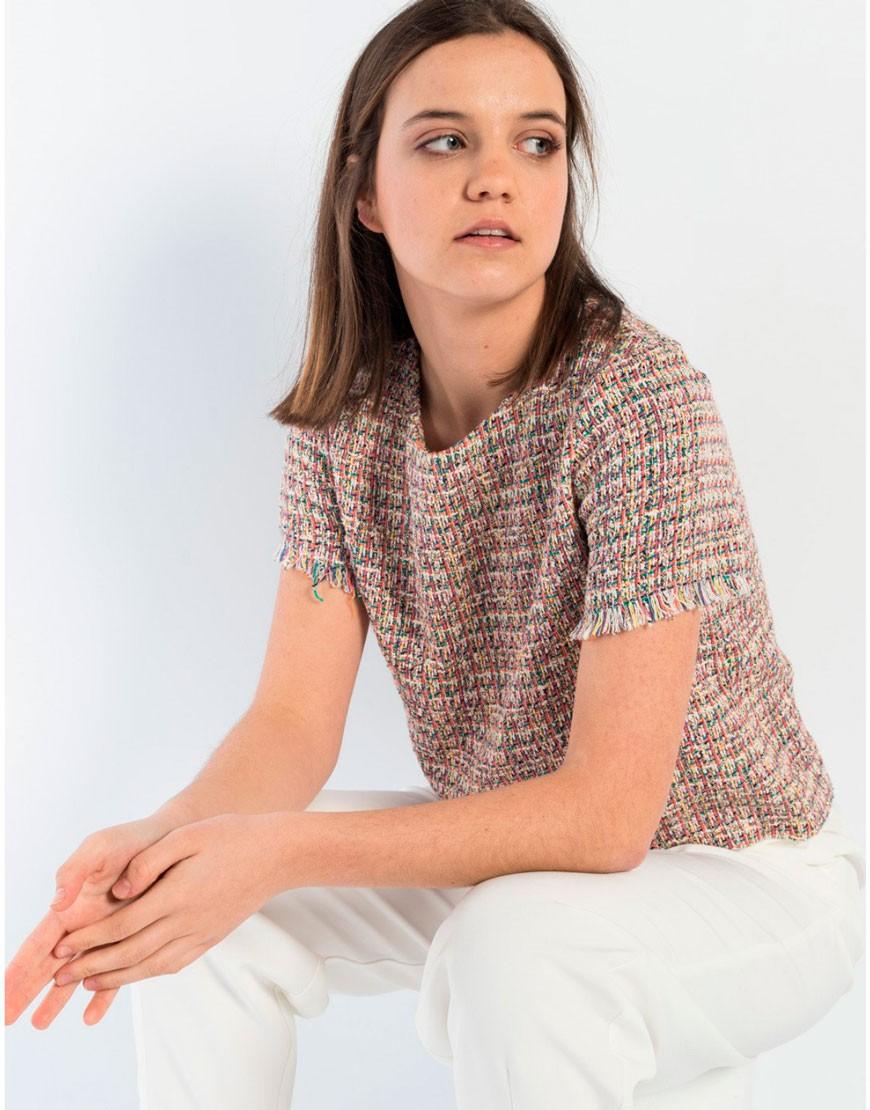 Camiseta tweed manga corta verano