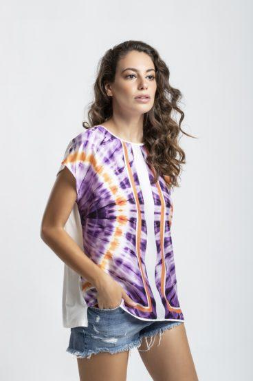 108.3007 (1) T'shirt frente estampada em Twill-costas de malha