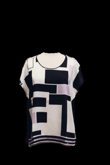 108.3020 (1) T shirt com frente estampada em twill-Costas em malha jersey