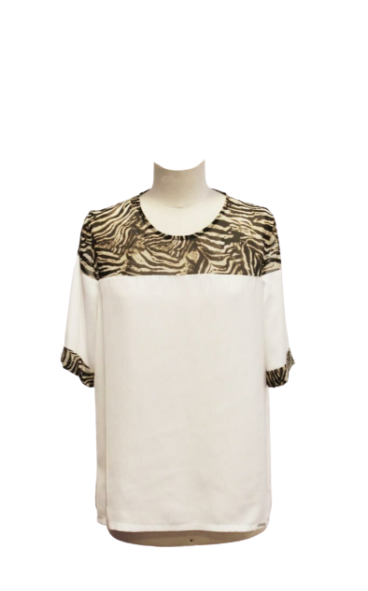 505.2989 (1) Blusa de marroquin Pérola com encaixes de chifon estampado