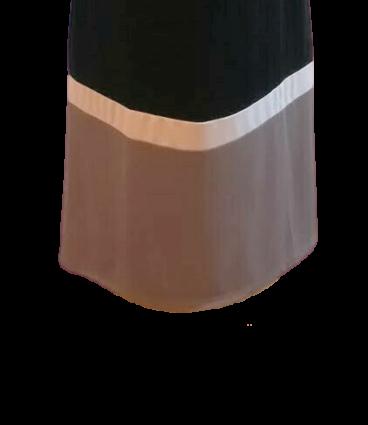 Vestido de malha jersey comprido com 2 barras em cor contraste