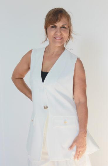PP0004_12 – Colete branco fresco em tecido muito fluído